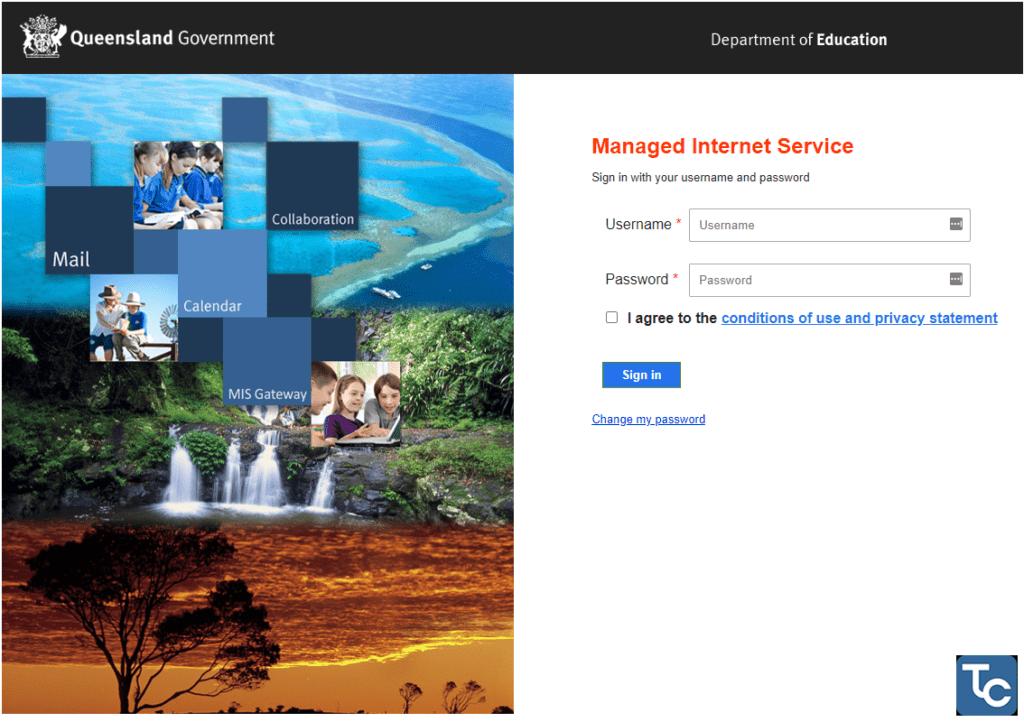 MIS Webmail login page